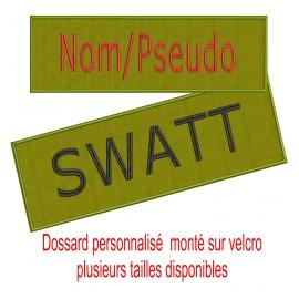 Dossard vert otan personnalisé sur velcro plusieurs tailles-nathali-embroidery-fabrication-française