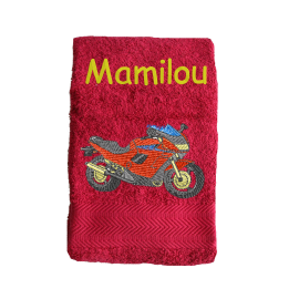 Serviette Eponge Moto Rouge