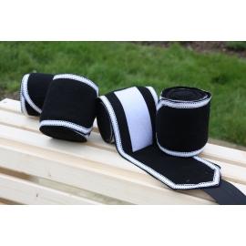 Bandes de polo noire Liseraie blanc tiret noir