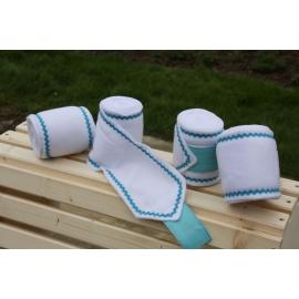 Bandes de polo blanche croquet bleu turquoise