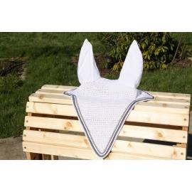 Bonnet blanc semi-long contour gris  avec cordelière grise