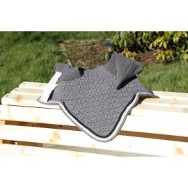 Bonnet gris anthractire cordelière noire