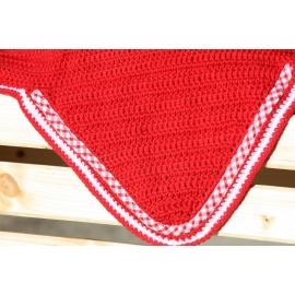 Bonnet rouge galon vichy blanc  blanche