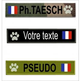 Bande patro avec  drapeau France Mon toutou taille  12 cm sur 3 cm