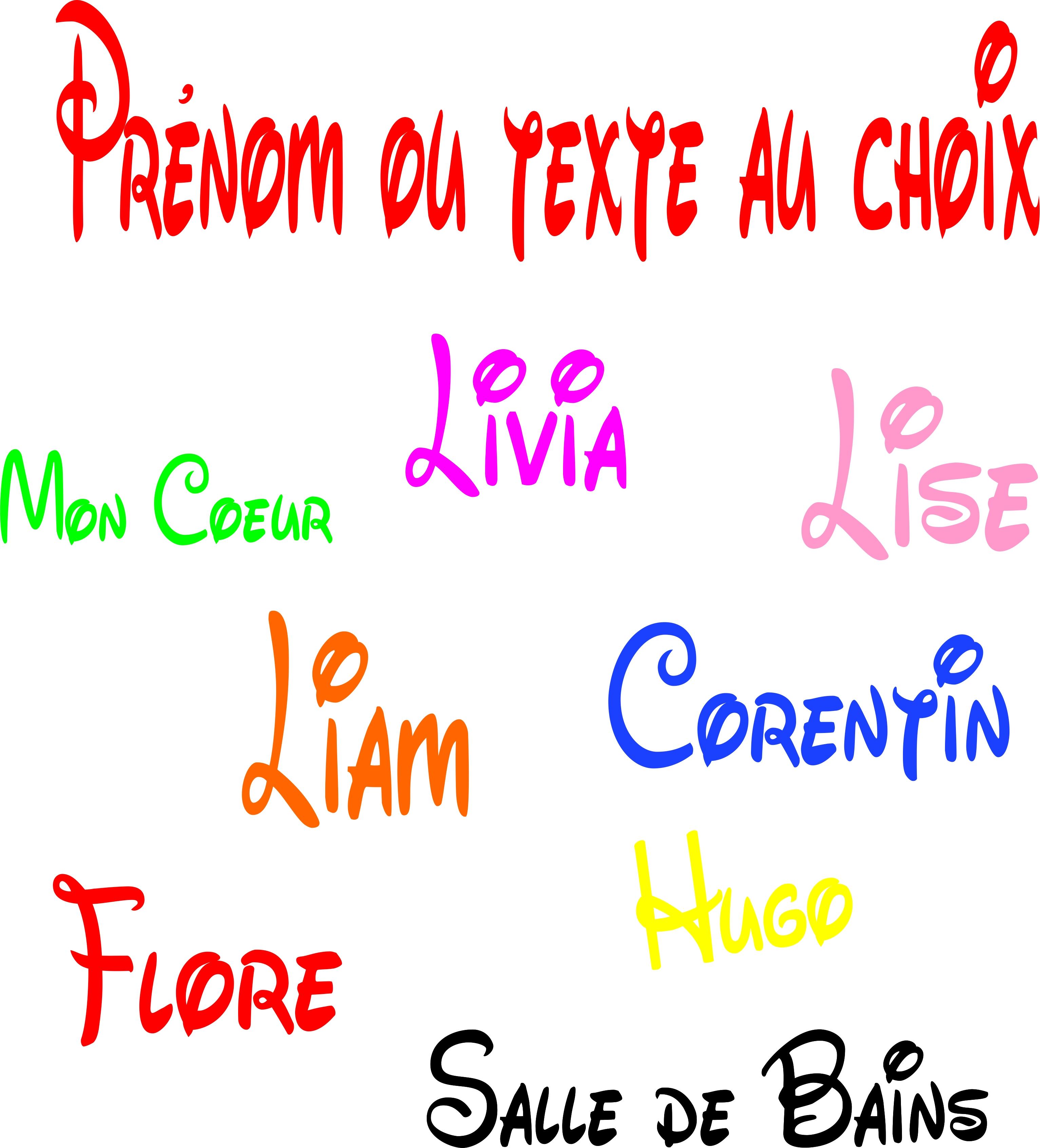 Sticker Prénom ou texte au choix personnalisé style Disney