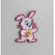 Ecusson Lapin rose  thermocollant