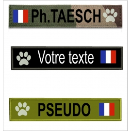 Bande patro avec  drapeau France Mon toutou taille  16 cm sur 5 cm