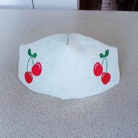Masque facial brodé Fleur de pissenlit en tissu lavable réutilisable Fabriqué en france